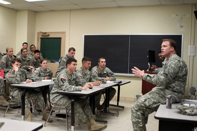Capt. Seth Nieman, a U.S. Military Academy Class of 2005 graduate and wounded warrior, speaks to Class of 2014 cadets at the 17th annual Mission Command Conference, April 23, 2014, at the U.S. Military Academy at West Point, N.Y.
