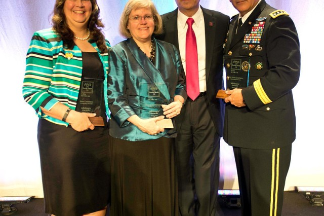 "Vice Chief of Staff of the Army Gen. John F. Campbell, his wife Ann (far left), and Hollister K. ""Holly"" Petraeus, were honored May 6, 2014, as recipients of the 2014 Advocacy Award by the chapter of the Easter Seals organization which serves the national capital region. Phil Panzarella, served as chair for the 2014 Advocacy Awards Dinner."