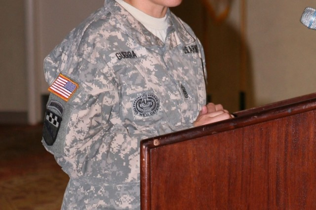 Command Sgt. Maj. Julie Guerra, command sergeant major, 309th Military Intelligence Battalion, speaks about the impact Army leaders have on Soldiers and how the Sexual Harassment and Assault Response and Prevention program can help current issues in the military, during the Sexual Harassment and Assault Response and Prevention Luncheon at the Thunder Mountain Activity Centre May 2.