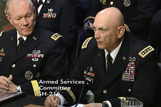Chief of Staff of the Army Gen. Ray Odierno testifies to the Senate Armed Services Committee, May 6, 2014, during a hearing on military compensation as Chairman of the Joint Chiefs of Staff Gen. Martin Dempsey looks on.