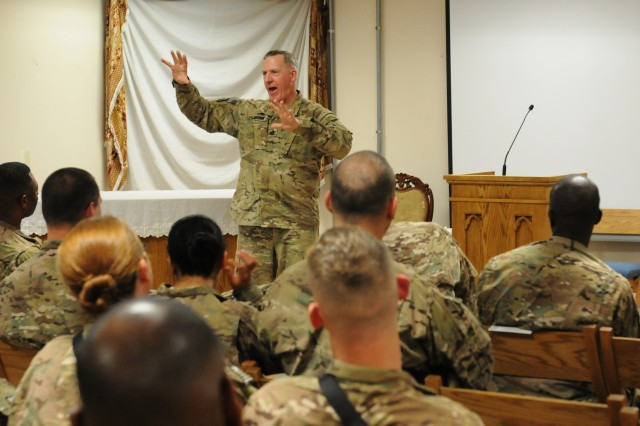 Command Sgt. Maj. Frank Grippe, The CENTCOM senior enlisted advisor, visited the New Kabul Compound May 10. While at NKC Grippe hosted a Noncomissioned Officer Professional Development class discussing progress in Afghanistan and promoted a Soldier from USFOR - A.