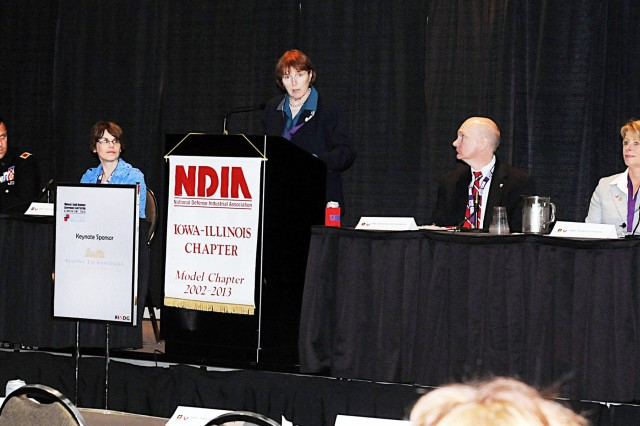 Patricia Huber, Joint Munitions Command deputy to the commander (far right), participated in the Senior Leader Panel which concluded the 2014 Midwest Small Business Symposium held, May 7-8 in Moline, IL. Other panel members were (left to right); Col. David J. Luders, commander of Joint Manufacturing and Technology Center, Melanie Johnson, executive director of the Army Contracting Command-Rock Island, moderator Kathryn Szymanski, chief of the Office of Counsel for the U.S. Army Sustainment Command and Michael Hutchison, deputy to the commander at Army Contracting Command, Huntsville, Ala.