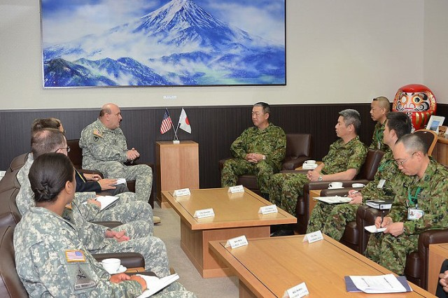 Maj. Gen. John Wharton, commanding general of Army Sustainment Command and Rock Island Arsenal, Ill., and Lt. Gen. Masahiro Hidaka, Commanding General of Central Readiness Forces, Japan Ground Self-Defense Forces, discuss bilateral relations at the JSDF Headquarters, located on Camp Zama, Japan, April 16. Wharton and other senior leaders spent 10 days in the U.S. Army Pacific Command area of responsibility to engage U.S. senior military leaders in support of the establishment of the ASC/USARPAC Integration Cell with its ability to integrate and synchronize ASC capabilities, demonstrate the Sustainment Enterprise ability to support Joint Forces, reinforce to combatant commanders that ASC remains responsive to them, discuss the pending move of the 402nd Army Field Support Brigade from Kuwait to Hawaii, and meet with senior military leaders from South Korea and Japan to foster ASC's international relationships.