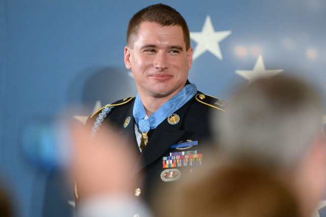 Former Sgt. Kyle White after receiving the Medal of Honor at the White House from President Obama May 13, 2014.