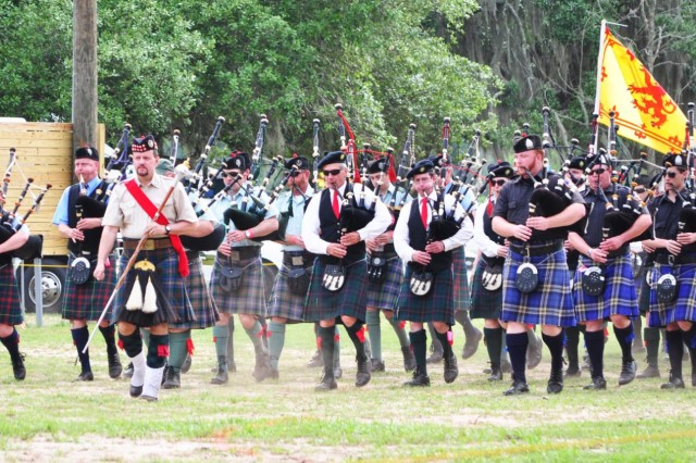 The closing of the Savannah Scottish Games was marked by the march of the combined piping bands across the main field on May 10, 2014.