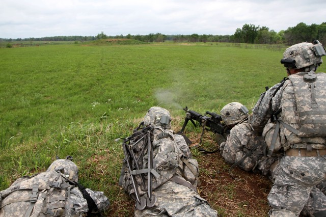 Soldiers with 3rd Platoon, Company B, 2nd Battalion, 327th Infantry Regiment, 1st Brigade Combat Team, 101st Airborne Division (Air Assault), provide suppressive fire during a walk and shoot exercise May 9, 2014 near Observation Post 13 at Fort Campbell, Ky.