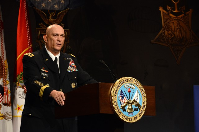 Chief of Staff of the Army Gen. Ray Odierno speaks at the Hall of Heroes induction ceremony for former Sgt. Kyle J. White, at the Pentagon, May 14, 2014. White was inducted into the Hall of Heroes, a ceremonial room at the Department of Defense headquarters, one day after he received the Medal of Honor for actions in Afghanistan during the Battle of Aranas, in 2007.
