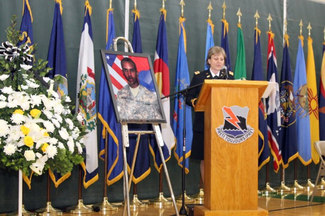 Lt. Col. Vanessa K. Ragsdale, 304th Expeditionary Signal Battalion, 1st Signal Brigade speaks at the memorial service for Spc. Carl A. Lissone, Information Technology Specialist, Bravo Company, 304th ESB, 1st Signal Brigade, May 13 at USAG Humphreys, South Korea. Ragsdale said that Lissone was a dedicated and motivated Soldier and she appreciates everything he did for the battalion.