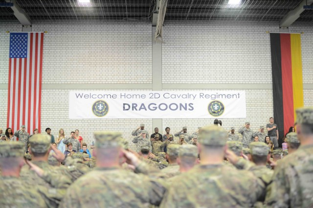 ROSE BARRACKS, Germany -- Troopers with the 2d Cavalry Regiment are welcomed during a ceremony upon returning from a combat-deployment in Afghanistan April 2, 2014, at Rose Barracks Germany.