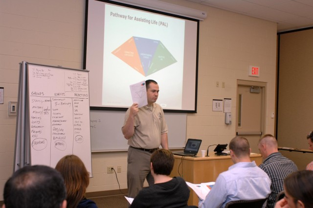 U.S. Army Capt. Paul Lepley, 126th Cavalry Squadron, Michigan National Guard, facilitates an Applied Suicide Intervention Skills Training course at Fort Custer Training Center, Battle Creek, Mich., on April 30, 2014. The course is part of the Army National guard Ready and Resilient Campaign and is first of three classes which will be held this year to training Michigan Soldiers and Airmen to recognize and intervene with members who are at risk for suicide.  (U.S. Air Force photo by Master Sgt. Denice Rankin/released)