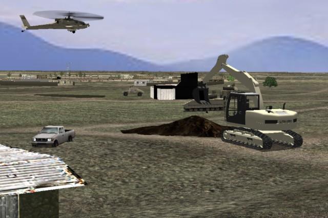 An R&D excavator interoperating with OneSAF entities (civilian pickup truck, AH-64 Apache helicopter, Humvee) on Afghanistan terrain.