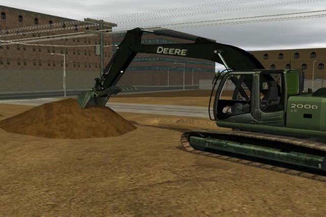 A fielded standalone excavator trainer on generic job site terrain.