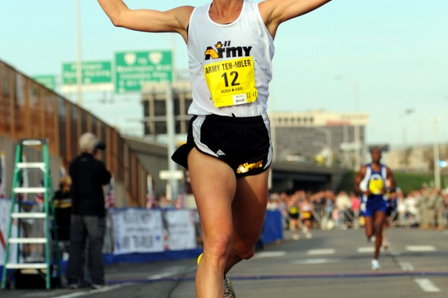 U.S. Army World Class Athlete Program runner Capt. Kelly Calway of Fort Carson, Colo., finishes second among women in the 2010 Army Ten-Miler with a time of 57 minutes, 10 seconds on Oct. 24 at the Pentagon.