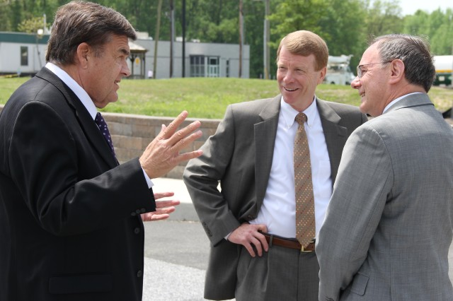 U.S. Representative C.A. Dutch Ruppersberger (left) visits members of Team CBRNE (Chemical, Biological, Radiological, Nuclear and Explosives) at Aberdeen Proving Ground, Md., May 12 to check out the latest developments in chemical and biological defense.