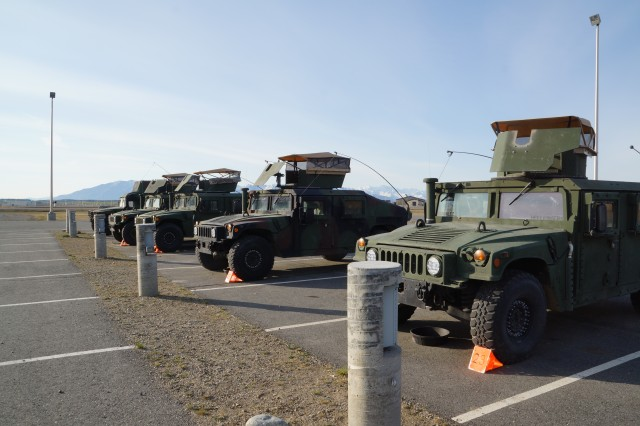 1151 armored vehicles assigned to A Company, 49th Missile Defense Battalion, sits ready for use on the Missile Defense Complex at Fort Greely, Alaska.