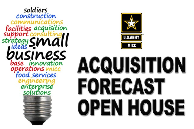 The Fort Carson Acquisition Forecast Open House takes place May 27 from 9 a.m. to noon at McMahon Auditorium on Fort Carson, Colorado. Registration for the free forum conducted by the Mission and Installation Contracting Command begins at 8 a.m. and is open to the public. (Graphic by Daniel P. Elkins)