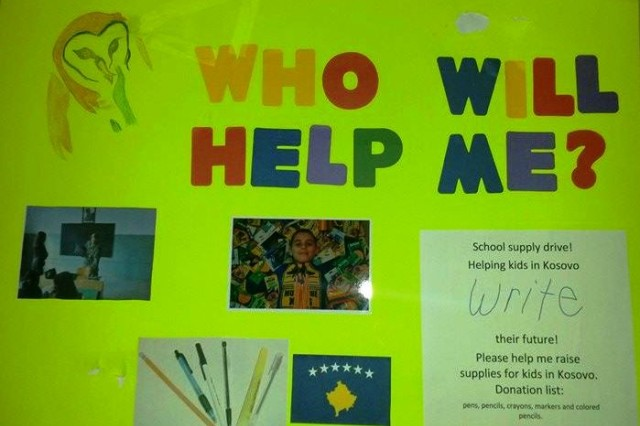 COPPERAS COVE, Texas -- Handmade posters designed by Matthew Northrop, 8, were hung around his school publicizing his unique school supply drive for students in Kosovo. Matthew eventually earned over $500 and was able to purchase enough supplies for 12 large boxes to be mailed to Kosovo schools.
