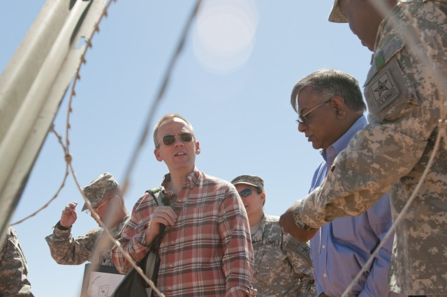 Undersecretary of the Army Brad R. Carson toured the site of the Network Integration Evaluation 14.2, May 15, 2014, at Fort Bliss, Texas.