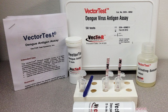 """AV-RDDs, better known as """"dipstick"""" tests, come in kits that contain sample holding tubes, grinding tools and the buffer solutions necessary to run the test. The AV-RDD targets arthropod-borne diseases, a primary readiness threat to warfighters."""