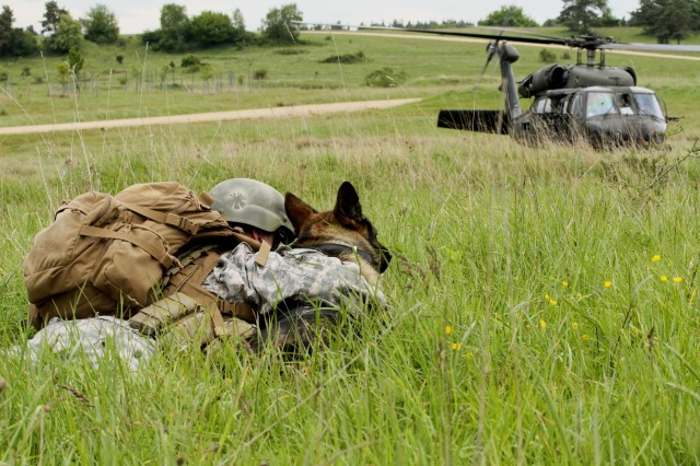 Sgt. Kara Yost, a Military Police dog handler with the 131st Military Working Dog Detachment, 615th Military Police Company out of Grafenwoehr Army base, huddles on the ground with Kajo, her military working dog, as a UH-60 Blackhawk prepares to takes flight at Hohenfels Army base training area (U.S. Army photo by Capt. John Farmer, 1st BCT, 1st CD Public Affairs).