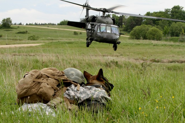 Sgt. Kara Yost, a Military Police dog handler with the 131st Military Working Dog Detachment, 615th Military Police Company out of Grafenwoehr Army base, huddles on the ground with Kajo, her military working dog, as UH-60 Blackhawk takes flight at Hohenfels Army base training area (U.S. Army photo by Capt. John Farmer, 1st BCT, 1st CD Public Affairs).