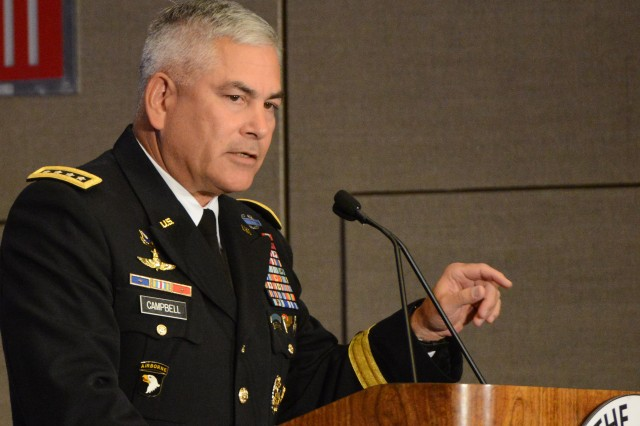 """Army Vice Chief of Staff Gen. John F. Campbell delivers the opening remarks at Association of the U.S. Army's """"Sustaining Force 2025"""" seminar in Arlington, Va., May 20, 2014."""