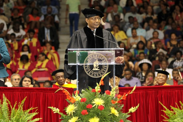 The Chief of Engineers Lt. Gen. Thomas Bostick traded his Army Service Uniform for a cap and gown as he gave the commencement address to the 2014 graduating class at Tuskegee University. (Photo courtesy Tuskegee University)