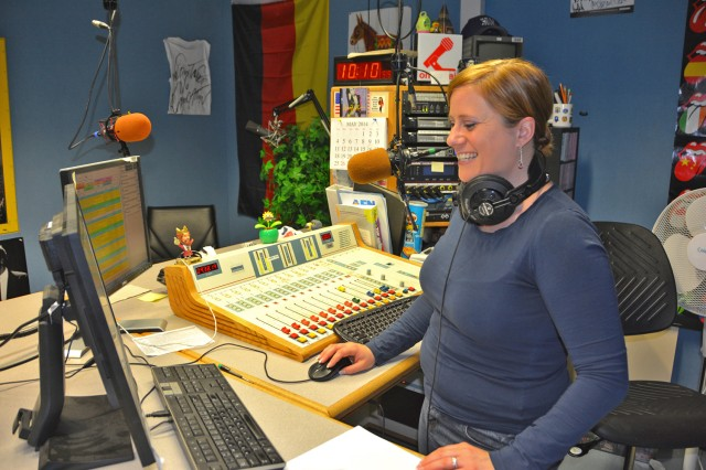 Former AFN-Wiesbaden disc jockey Jessica Taylor works in the pre-modified studio on Clay Kaserne. Upgrades were expected to improve the layout and equipment at AFN studios throughout Europe.