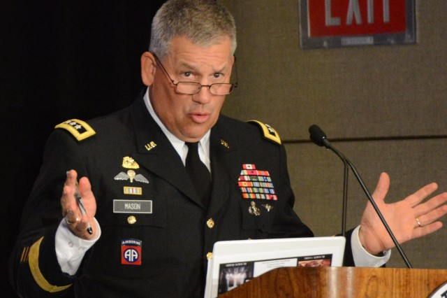 "Lt. Gen. Raymond V. Mason, deputy chief of staff, G-4, talks logistics at AUSA's ""Sustaining Force 2025"" seminar, in Arlington, Va., May 20, 2014."