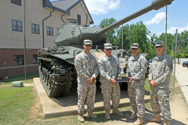 (L to R): Sgt. Kevin Luu, a gunner from Tioga, N.Y.; Spc. Benjamin D. Whiteman, a loader from Townsend, Del.; Sgt. 1st Class James A. Grider, a tank commander from Fort Worth, Texas; and Pfc. Thomas Carter, a driver from Lynn, Mass., pose for a photo with the Sullivan Cup, May 16, following the grueling, weeklong 2014 Sullivan Cup Best Tank Crew Competition. The team is assigned to Company C, 2nd Battalion, 69th Armor Regiment. This is the first time any of the Soldiers have participated in the Sullivan Cup Competition, which they won.
