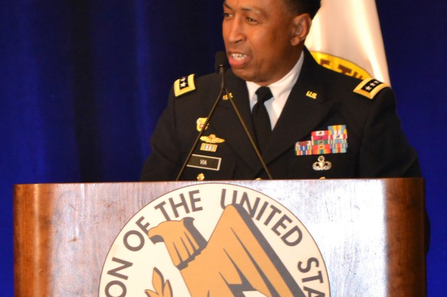 "Gen. Dennis L. Via, Army Materiel Command commander, stresses partnership, collaboration and communication with industry May 20, 2014, at the Association of the United States Army's Sustainment ""Hot Topic"" Forum in Arlington, Va.."