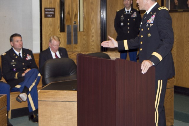 Retired Maj. Gen. James B. Mallory III, addresses the audience just after the presentation ceremony where Maj. Gen. Gill Beck, commanding general of the 81st Regional Support Command, awarded the Bronze Star Medal to Col. Joseph Crosswhite at the Hall of Justice in Statesville, N.C. Crosswhite served a tour in Afghanistan as an adviser to Afghan prosecutors and judges. Crosshwhite served as the Staff Judge Advocate for the 81st prior to his deployment and is currently the Chief of International and Operational Law at Army Forces Command at Fort Bragg, N.C.