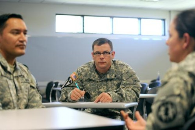 Sgt. 1st Class Benjamin Merker, a SHARP trainer with the III Corps and Fort Hood SHARP Office, observes a role-playing scenario near the end of the two-week course.