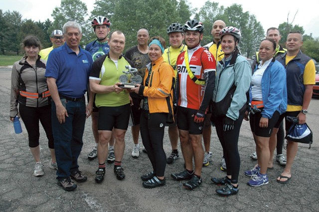 "The team from the U.S. Army Test and Evaluation Command won the ""Cycle Smack Down"" trophy for having the most participants.  Twenty-three people from ATEC either biked to work or participated in the group bike ride on post."