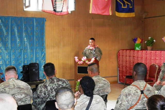 Sgt. 1st Class James Hannam, the container management noncommissioned officer in charge with the 3d sustainment command expeditionary, provided the introduction at the Asian American and Pacific Islander Heritage Month ceremony May 19 at New Kabul Compound, Afghanistan.