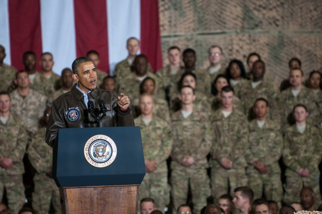 President Barack Obama thanks deployed troops for their sacrifices during his surprise visit to Bagram Airfield, Afghanistan, May 25, 2014.