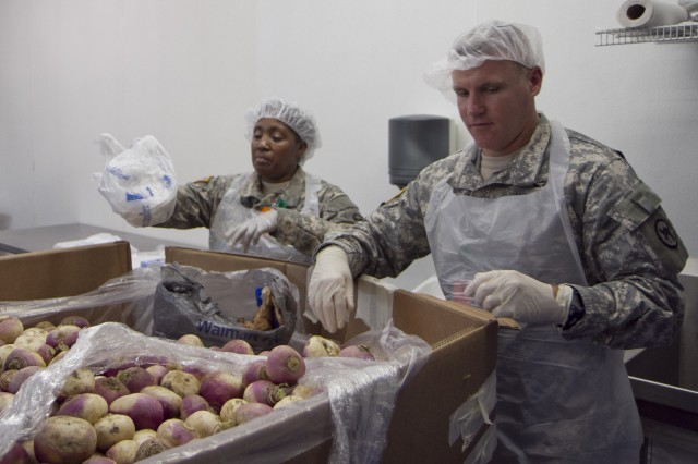 Soldiers of the 81st Regional Support Command at Fort Jackson, S.C., volunteered an afternoon of their time at the Harvest Hope food bank in Columbia on May 22. The Wildcats assisted by sorting donated produce such as lettuce and turnips for distribution to needy families. Pictured here are Master Sgt. Mary Butler, left, and Col. Glenn Sanders.