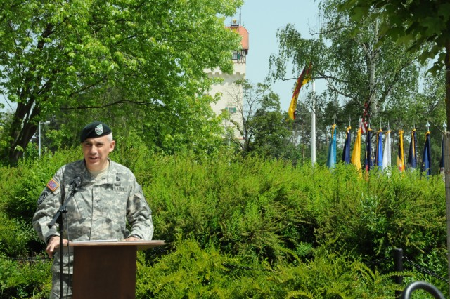 U.S. Army Garrison Bavaria Commander Col. James Saenz delivers his Memorial Day speech in Tower Barracks, May 22.