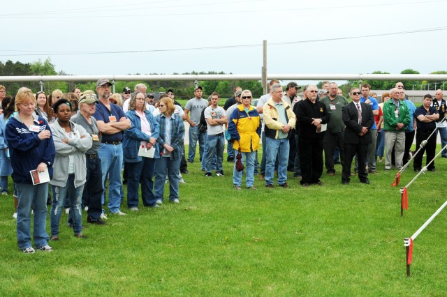 Family members and American Ordnance employees gathered for the Memorial Day Ceremony held May 22 at the Iowa Army Ammunition Plant.
