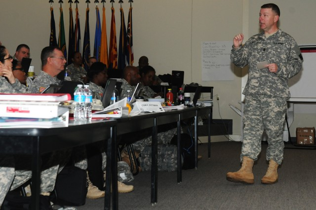 Command Sgt. Maj. Jim Wills, senior enlisted leader 80th Training Command (TASS), addresses students during The Army School System Leader Course at Fort Knox, Ky., May 2, 2014. The course familiarizes leaders who transfer from the operational and functional environment with TASS policies and procedures in accordance with U.S. Army Training and Doctrine Command Regulation 350-18.