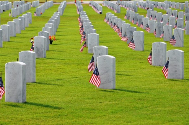 Each headstone at Fort Jackson National Cemetery is marked with an American flag in celebration of Memorial Day May 26, 2014.
