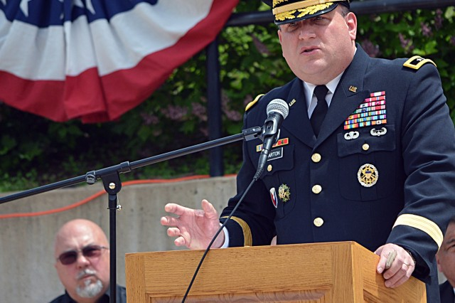 Maj. Gen. John Wharton speaks at the annual Memorial Day Ceremony at Hero Street Memorial Park in Silvis, Ill., May 26. An estimated 200 people attended the event hosted by the city of Silvis.
