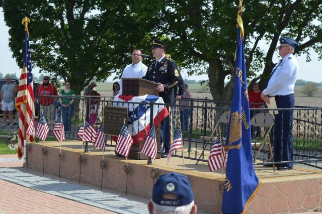 Sgt. Maj. Douglas Martin, U.S. Army Sustainment Command, speaks to a crowd of about 200 people at a Memorial Day ceremony in Galva, Ill., May 26.