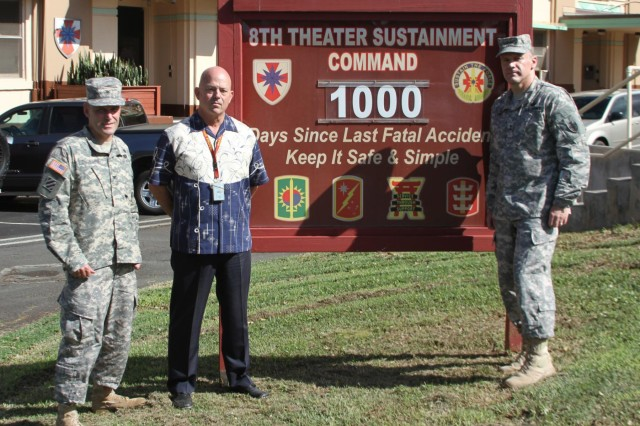 The 8th Theater Sustainment Command's Deputy Commander, Col. John Chadbourne (from left to right), the Safety Officer, Tim Ah Young-Shelton, and the 8th TSC commander, Maj. Gen. Steve Lyons, change their safety record to 1,000 accidental death-free days, a safety milestone. The record includes no accidental deaths, either on or off duty, in over three years.