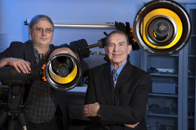 Army Research Laboratory quantum information principal investigator Ronald Meyers (right) and team member Keith Deacon (left) recently demonstrated information teleportation using entangled photons at the organization's laboratory in Adelphi, Md.