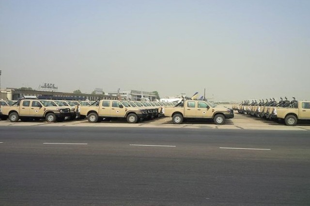 Throughout May, SDDC transported more than 400 Ford Ranger military pickup trucks from the Port of Karachi, Pakistan, to Afghanistan in support of a Combined Security Transition Command-Afghanistan Foreign Military Sales mission to help equip the Afghanistan National Security Forces.