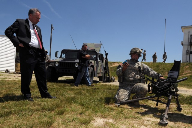 U.S. Senator Tim Kaine, D-Va. visited Fort A.P. Hill June 2 as part of the Fredericksburg Military Affairs Council meeting. While at A.P. Hill Kaine visited with Soldiers from the 276th Engineer Battalion, Virginia Army National Guard.