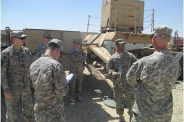 Soldiers with Headquarters and Headquarters Battery, 17th Field Artillery Brigade, conduct a tour of 1st Battalion, 44th Air Defense Artillery Regiment's Patriot tactical site, Army Central Command area of operations, May 6, 2014. (Photo credit: Sgt. Brandon Baldwin, 17th Field Artillery Brigade)