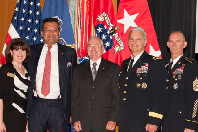 Laura DeFrancicso, Office of the Secretary of the Army, Doc Parghi, Robert French, Maj. Gen. Tony Cucolo, Cmd Sgt. Major Malcolm Parrish pause after Parghi's and French's investiture as Civilian Aides to the Secretary of the Army.