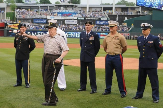 D-Day Company Commander throws ceremonial first pitch in MLB pregame Tribute